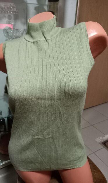 Mint zelena prsluk bluza s polurolkom Vel Piše S, više odgovara za
