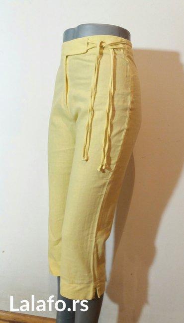 Pantalone letnje 7/8 duzine,divne limun zute boje od mesavine lana i p - Beograd - slika 2