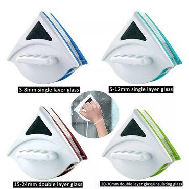 Щетка магнит для мытья окон - Кыргызстан: Магнитная щетка для мытья окон с двух сторон (стекло 15-30