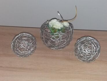 Kućni dekor - Mladenovac: SNIŽENO!!!Ručna izrada od kudeljinog kanapa. Korpice i loptice u