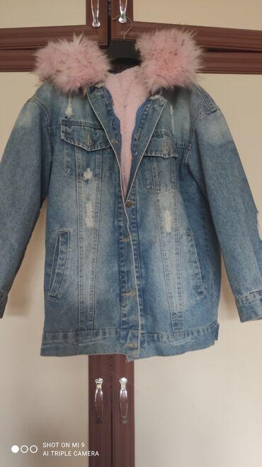 Джинсовая куртка с утеплением, мех и капюшон съёмные