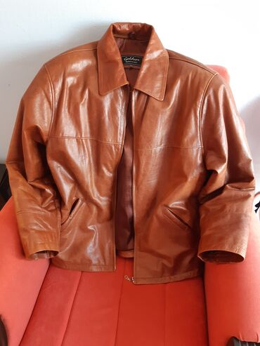 Kozna jakna muska braon iz italije XL velicina,kvalitetna koza sa
