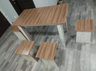 стол на кухню раскладной в Кыргызстан: Стол 110*65см новый +4 табуретки.доставка