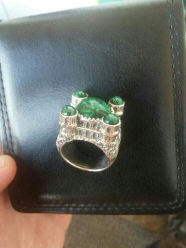 """цена за грамм золота в бишкеке в Кыргызстан: Перстень """"Мечеть"""" ручной работы с натульными камнями. Камни Малахит"""
