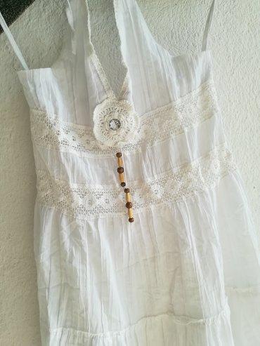 Prelepa bela haljina za leto, indijsko platno, vel 14, veže se oko