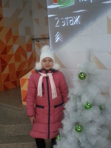 Пуховик зимний, на девочку, цвет арбуз, в Бишкек