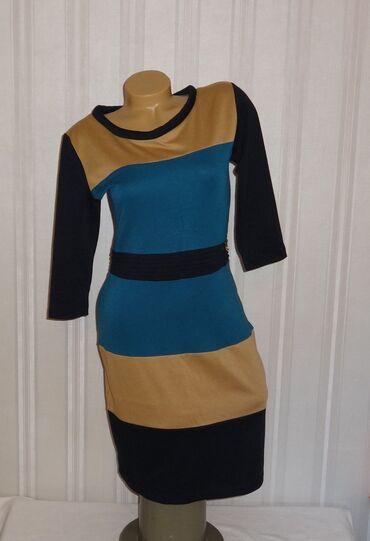 трикотажные платья для полных женщин в Кыргызстан: Теплое трикотажное платье рукав 3/4 размер 40-М, б/у в отличном