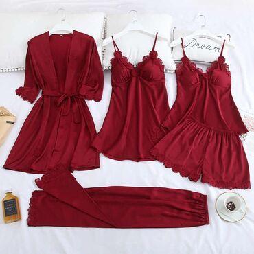 платье халат купить в Кыргызстан: Шелковая пижама 5в1: майка,шорты,штаны,сорочка и халат, размеры 48