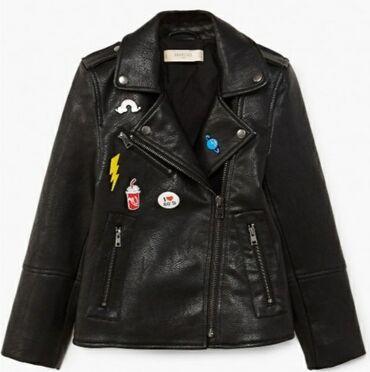 Pre - Srbija: MANGO biker jacket, kozna jakna decija crna, moderna, za devojcice