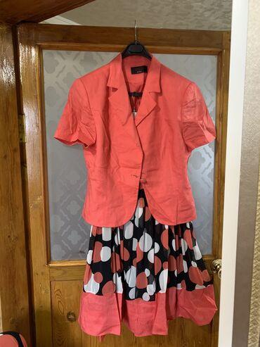 турецкое платье шифон в Кыргызстан: Тройка турецкая 52размера.Костюм лён Майка и юбка шифон отличного каче