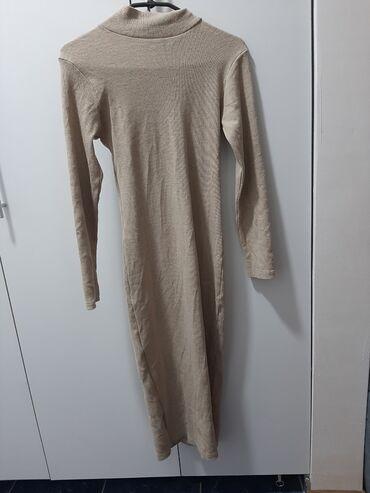 Prelepa duga rebrasta haljina, uni velicina, jednom obucena
