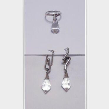 Серебро комплект: серьги + кольцо.Камень: горный хрусталь.Проба