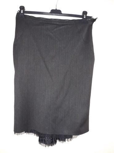 Tamno,tamno siva suknja,duz.napred 61 cm,pozadi 66 cm - Smederevo