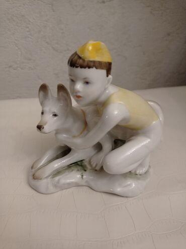 """Фарфоровая статуэтка """"Мальчик Пограничник с Собакой"""" в идеальном"""