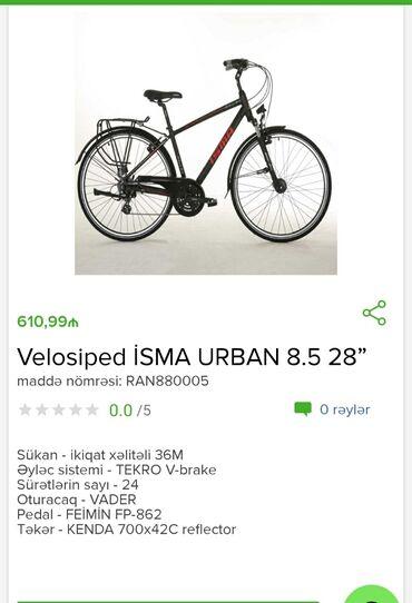 Velosiped isma Urban 8.5 28 Tam zəmanətləNəğd və 1 kartla ödəniş1