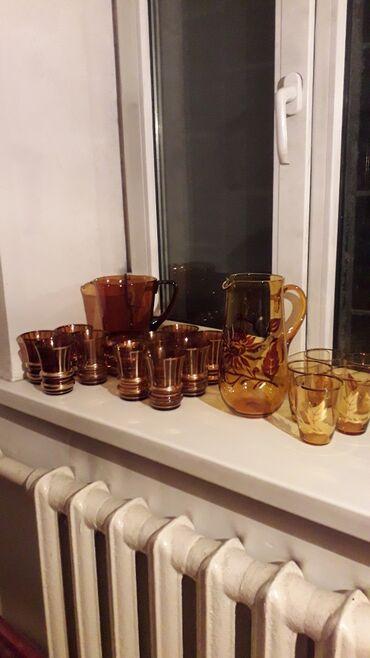 Графин коричневый Чехия + 10 стаканов 3800 сом Графин светло коричневы