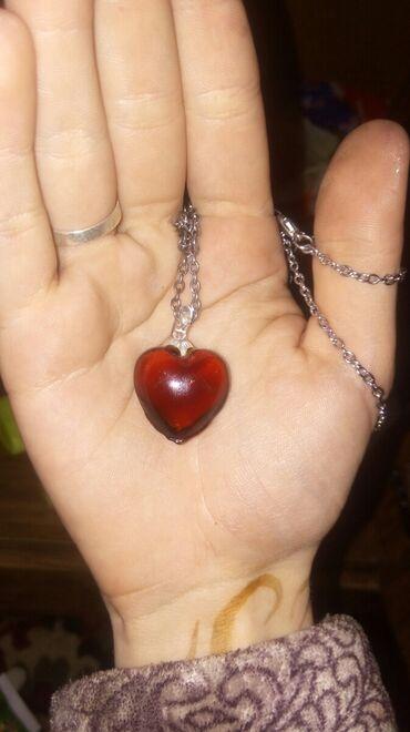 Цепочка с кулоном стеклянным сердцем