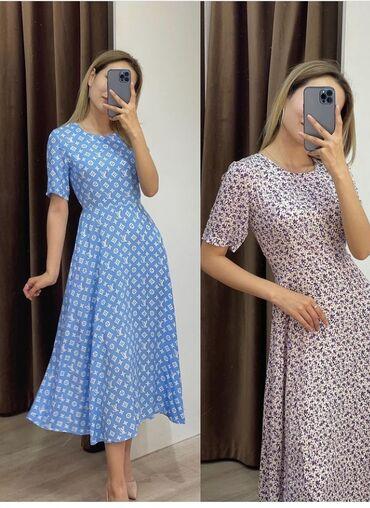 Платья - Кыргызстан: Шикарное платье Ткань хб штапельВотс напишите Цена 800Все расцетки и