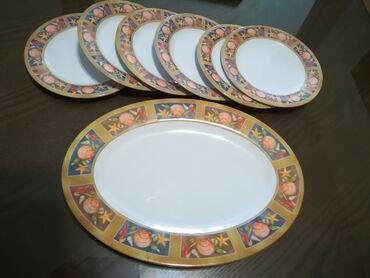 Kuhinjski setovi - Vranje: Morski komplet 6 tanjira fi 20 cm i tanjir poslužavnik 35x25 cm, tvrda