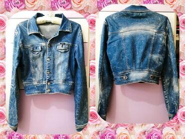 Farmerice kratko - Srbija: Crop teksas jakna - vel. S/M! Efektna kratka jaknica od klasično