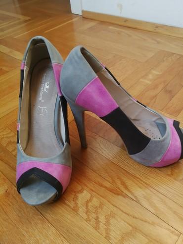 Bluza-sivo-teget - Srbija: Sivo-roze-crne cipele, broj 36, jednom nošene