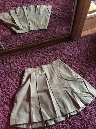 Suknja-obim-struka - Srbija: Suknja, krem/braonkasta, ima dzepove, dupla postava, obim struka oko 7