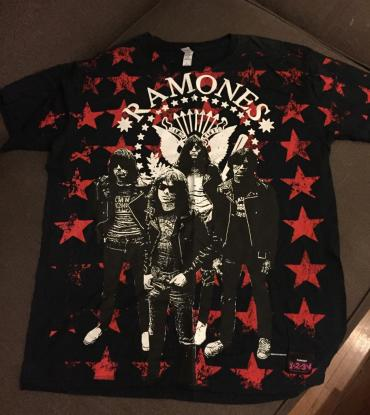 Ramon's T shirt black with stamps front and back . Size L . Never worn σε North & East Suburbs
