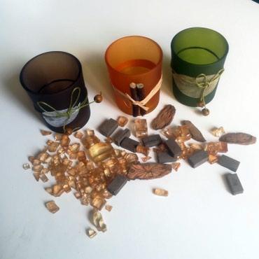 Tri čaše za sveće + dekoracija  - Beograd