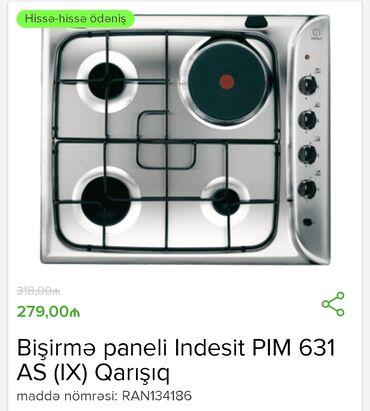 Qaz plitəsi - Azərbaycan: Indesit PIM 631 AS qaz plitəsi32 man ilkin ödəniş 12 aylıq 29 man