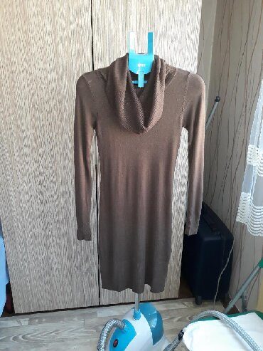 Trikotazna-pamuk - Srbija: Trikotazna haljina,sa rol kragnom,L-XL,duz.99 cm,rukav 69 cm