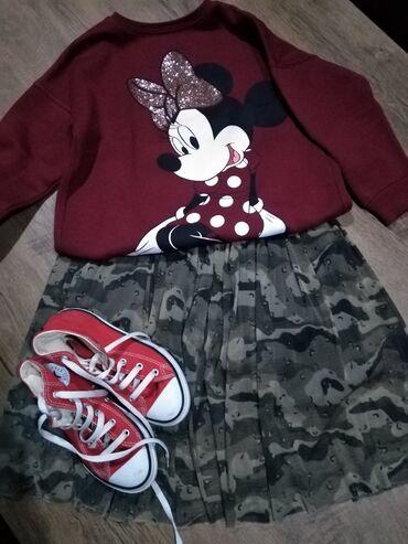 Dečija odeća i obuća - Nova Pazova: Suknja Zara kids vel 8 bez ikakvih tragova nošenja, duks Zara kids iz