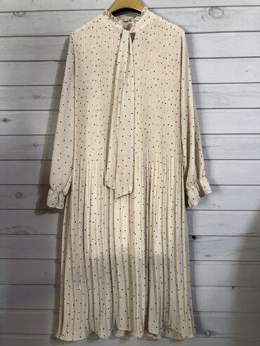 черное длинное платье в Кыргызстан: Продается новое платье в бежем цвете в черный горох размер оверсайз