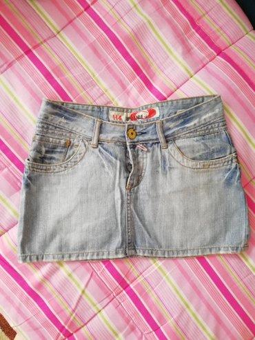 Mini teksas suknja M velicina.Dimenzije:poluobim struka 37cm,duzina - Novi Sad