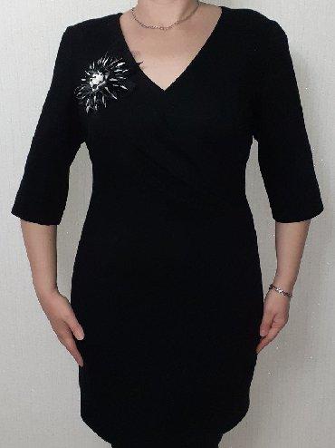 трикотажные платья турция в Кыргызстан: Платье черное трикотажное на подкладе сшитое на заказ размер 48-50