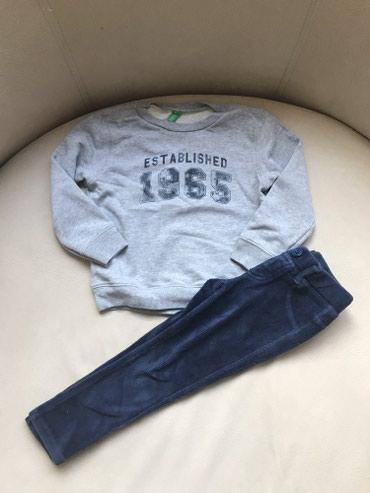Benetton komplet, duks i mekane somotske pantalonice. Velicina 3-4 - Crvenka