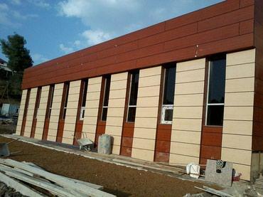 деревянный фасад в Азербайджан: Alkopan quraşdirmasi və montaji.Yuksək keyfiyətli üzdük material sizin