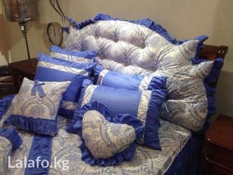 декоративные наволочки на подушки в Кыргызстан: Постельное белье (гжель) роскошное на кровать 1,8 метра в комплект