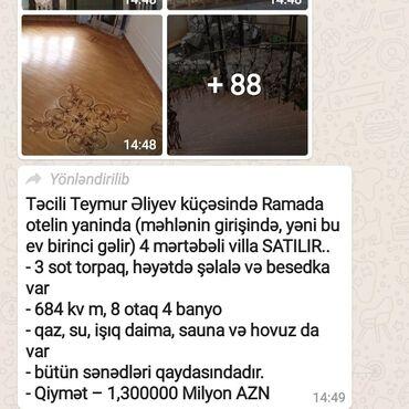 Digər kommersiya daşınmaz əmlakı - Azərbaycan: RAMANIDA TECILI ELIYEV KUCESININ YANINDA 3SOT 4MERTEBBELI VILLA