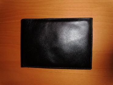 Pismo torbau oker boji na preklop dimenzije - Srbija: Muški kožni novčanik na preklop, crni, dimenzije 13x9 cm, nov