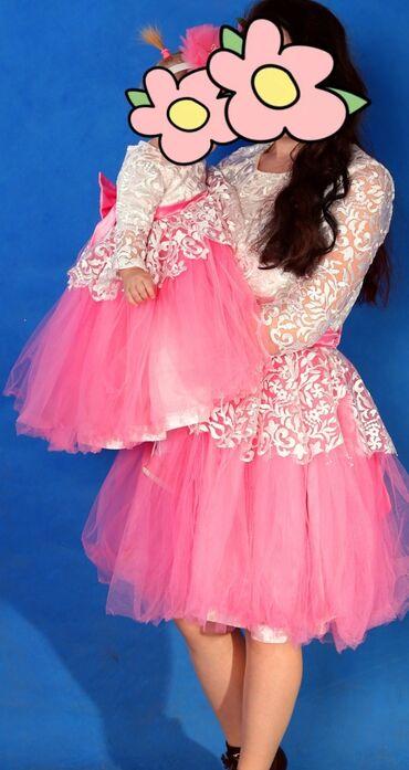 платье мама и дочь в Кыргызстан: Платья Мама Дочка ! Размер мама 44. дочка 1-1,5 годик . Цена: 40