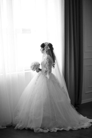 Свадебное платье с кружевными в Бишкек