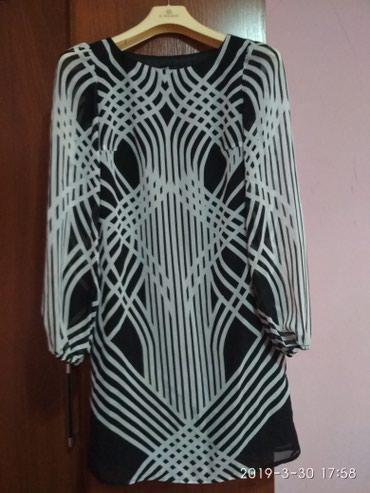 шифоновое платье батал в Кыргызстан: Платье шифоновое!(oodji)Тонкое, лёгкое!Летнее!Чёрно-белое!С