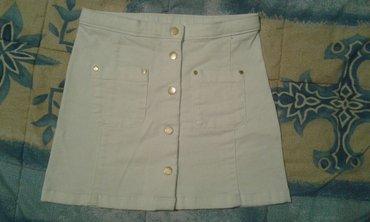 Bela teksas suknjica za devojcice sa dugmadima zlatne boje,br. 122 ili - Smederevo