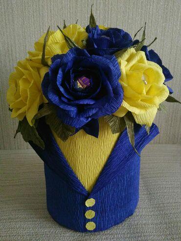 Букет розы в смокинге 15 manat в наличии. В составе 12 конфет Трюфель