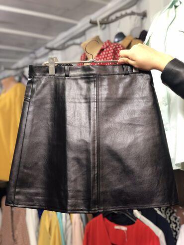Кожаная юбка  Черная L, Бордовая S