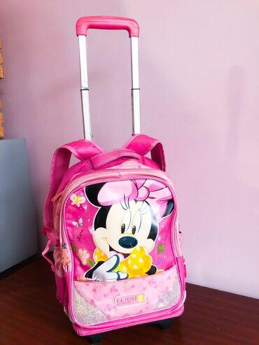 Детский рюкзак-чемоданчик с колесами. Розовый и очень вместительный
