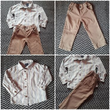 Dečija odeća i obuća - Obrenovac: Za bebu 12 meseci vel 80 DOMAKIN pantalonice i košuljica Kao novo