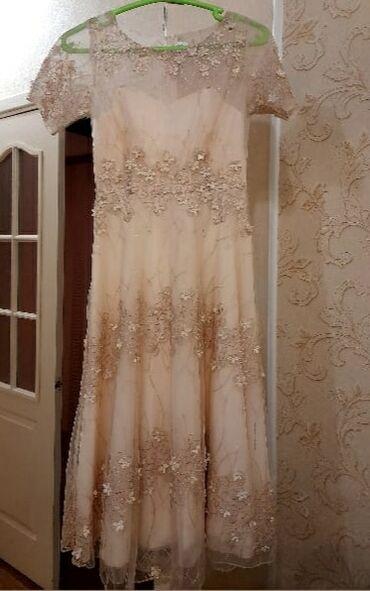вечернее женское платье в Кыргызстан: Подростковое женское платье бежевое вечернее платье платье на свадьбу
