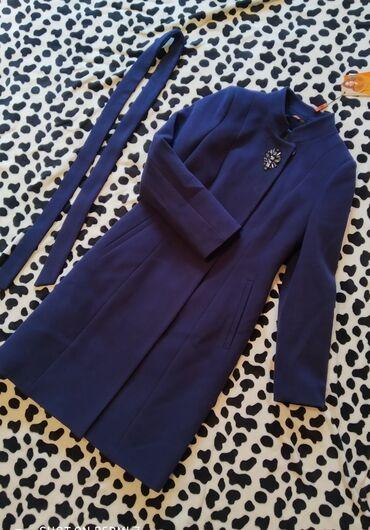 Новое кашемировое пальто, Турция, 38 размер, цвет темно синий