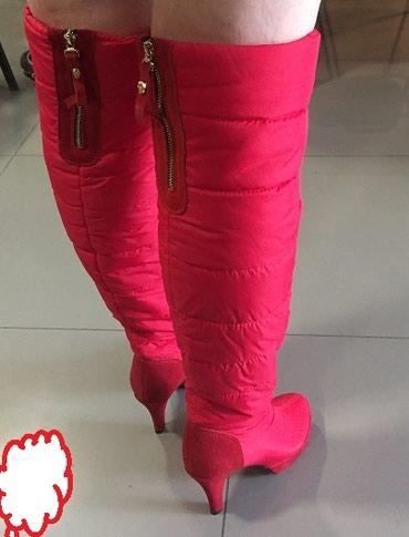 Красные сапоги ботфорты тепленькие на в Бишкек